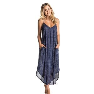 Roxy Boho Stlye Blue Kat Fish Midi Dress Size XS